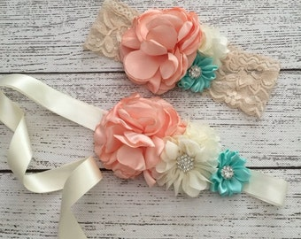 92bf7814cb5 Peach flower sash