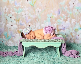 Lavender Lace Diaper Cover & Headband SetW/Headband/SET or SEPARATES/Photo Prop/Newborn Outfit/Adorable Cake Smash Outfit