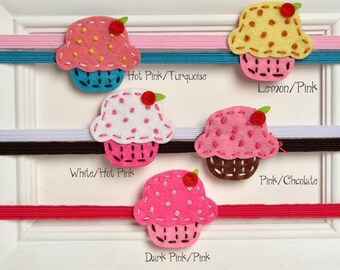 Simple and Sweet Felt Cupcake Headbands for your little cupcake!!!MANY COLORS AVAILABLE