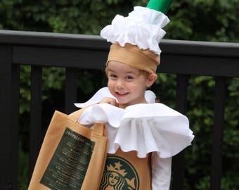 Halloween costume Frappuccino Coffee Kid's or Adult Costume