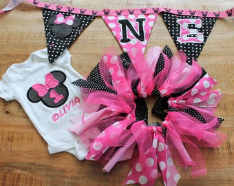 Minnie Birthday Celebration Package Onesie, Tutu and bunting banner Pink