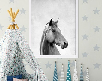 Horse Print Animal Portrait Large Art Grey Nursery Prints Baby Animal Nursery Decor Black and White Kids Room Decor Baby Nursery Art Ideas