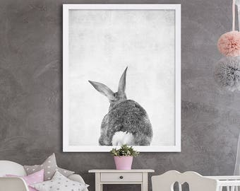 Baby Animal Prints Bunny Print Bunny Tail Poster Animal Nursery Art Woodland Nursery Decor Adorable Nursery Prints Grey Nursery Ideas