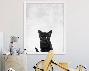 Black Cat Print Animal Nursery Art Gray Nursery Prints Animal Photography Peeking Black Cat Chat Noir Poster Nursery Decor Baby Shower Gift