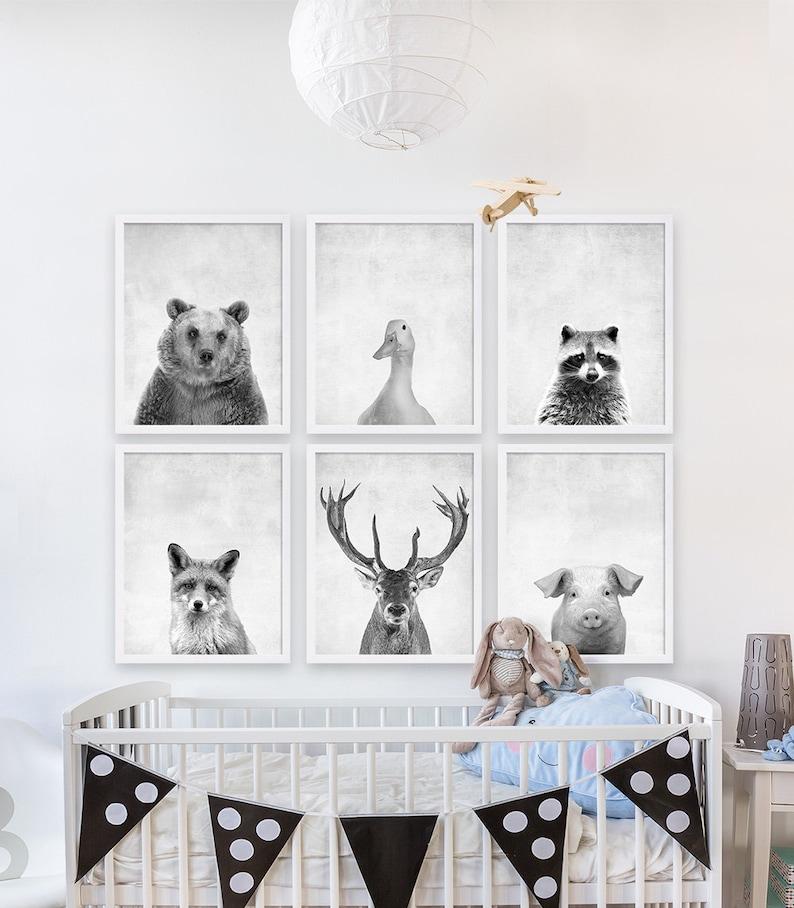 six animal prints boys nursery room ideas woodland animals etsy rh etsy com