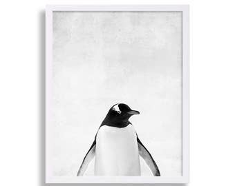 Baby Penguin Print Baby Animal Nursery Decor Animal Prints Extra Large Nursery Art Modern Nursery Prints Penguin Portrait Black and White