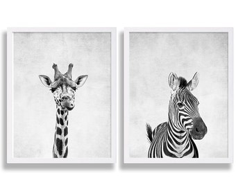 Two Animal Prints Giraffe Print African Safari Art Zebra Print Cute Nursery Decor Baby Animal Nursery Prints Newborn Gift Grey Nursery Decor
