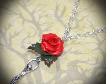 The Mother Goddess Red Rose Necklace - Pagan Jewellery, Wicca, Litha, Lughnasadh