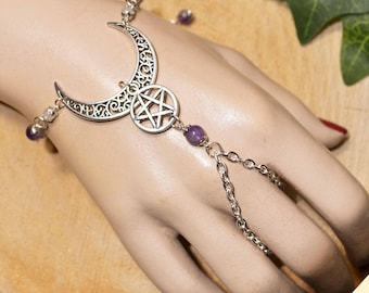 Ornate Crescent Moon & Pentacle Bracelet Ring  with Amethyst Beads