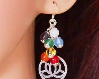 Chakra Earrings, Lotus Earrings - Handmade