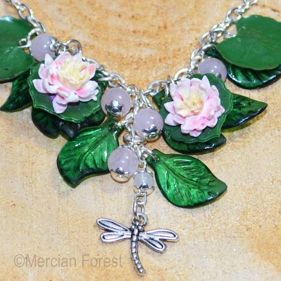 Lily Pond Bracelet Dragonfly Handmade Clay Water Lilies Pagan Jewellery