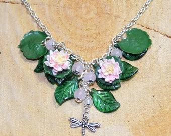 Lily Pond Necklace - Handmade Polymer Clay Jewellery with Lilies, Lily Pads, and Dragonflies