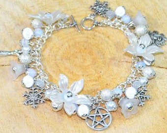 Winter Wonderland Bracelet - Handmade Pagan Jewellery for Wicca, Witch, Yule, Solstice, Midwinter, Goddess, Greenman, Snowflakes, Pentacle