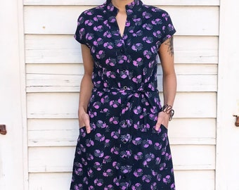 Fair Trade Black with Pink Flowers Button Down Cotton Dress