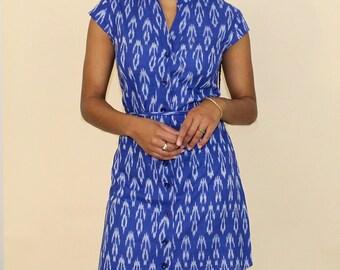 2a446ff30f9 Blue   White Handmade Button Up Shirt Dress with Mandarin Collar