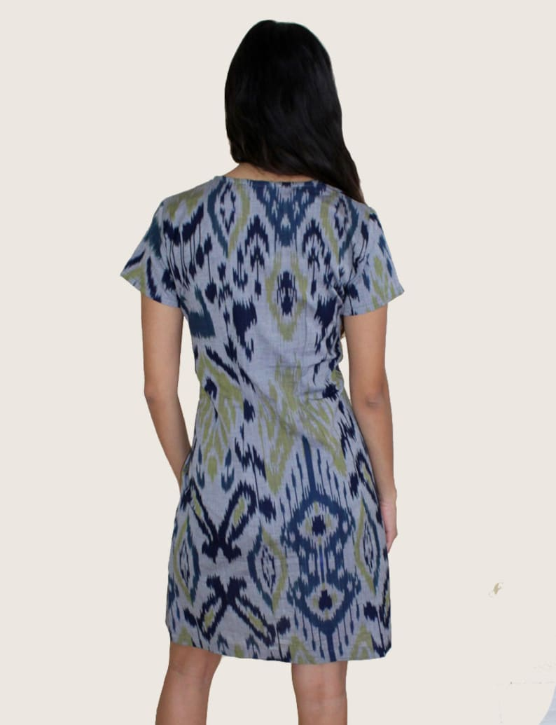 Fair Trade Blue and Green Geometric Print Ikat Cotton Shift Dress Perfect Gift for Her