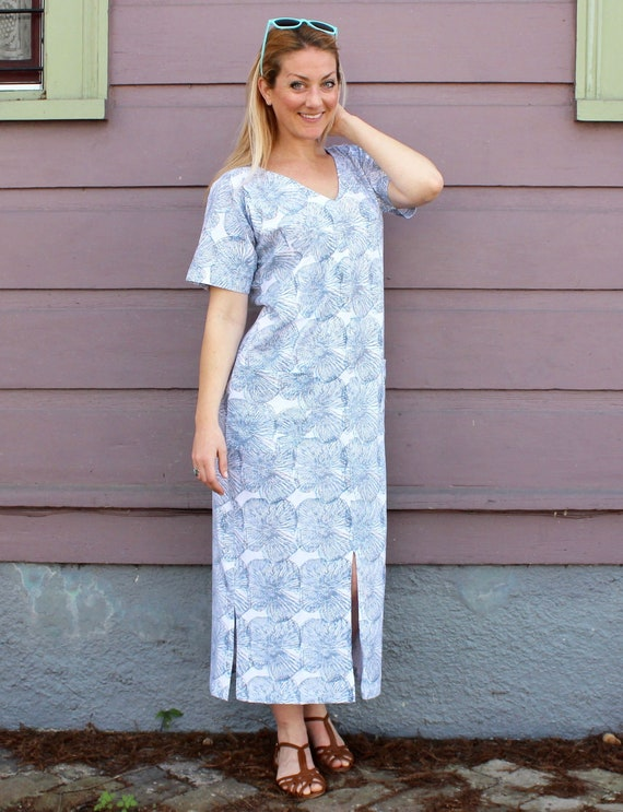 eeffb04f1a Light Blue Grey and White Floral Organic Jersey Cotton Kaftan | Etsy