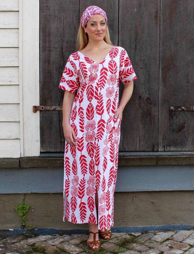 4f6f6126ba Red & White Tropical Floral Cotton Kaftan Dress Fair Trade | Etsy