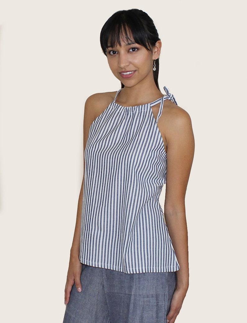 Fair Trade /& Handmade Blue and White Pinstripe Fair Trade Cotton Tank Top with Open Back