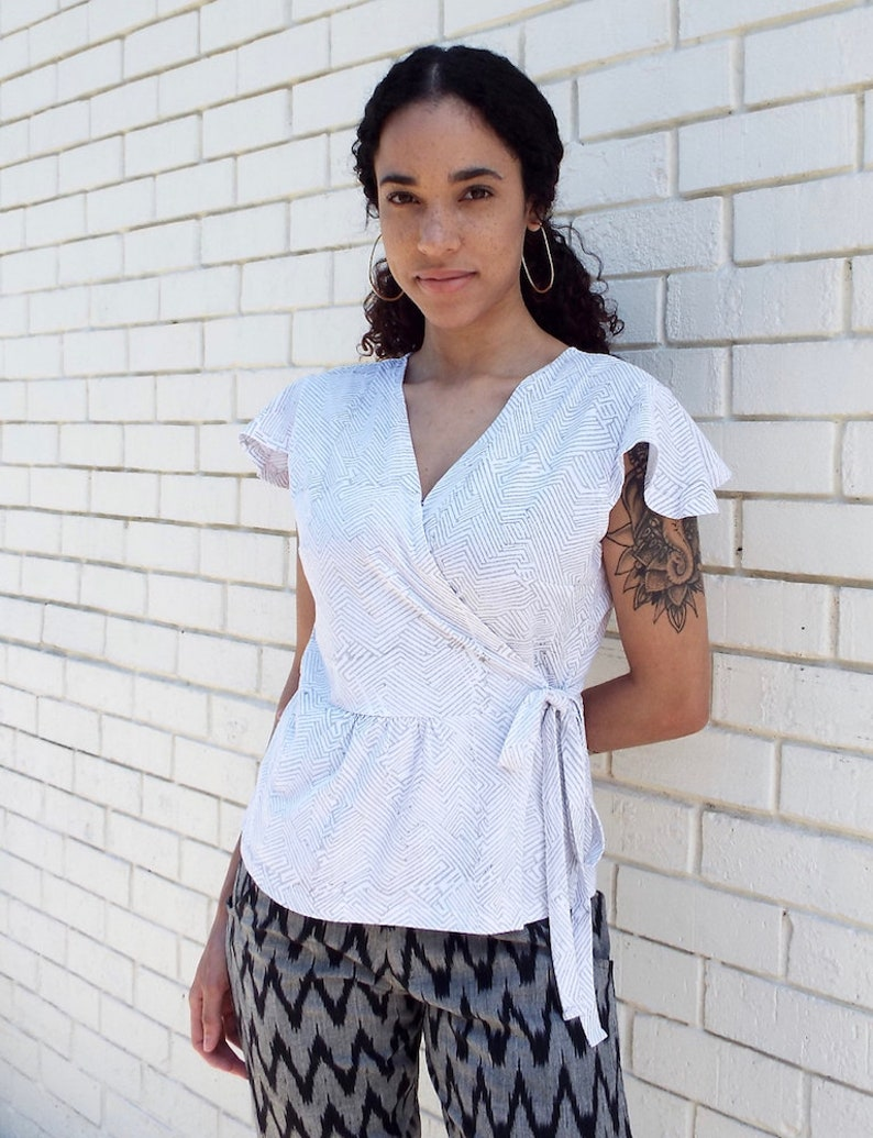Grey and White Geometric Organic Jersey Cotton Wrap Shirt Fair Trade and Handmade Perfect Gift for Her