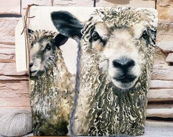 VEGAN FARM PROJECT Bag  Large Travel Sheep Knitting Crochet Yarn Holder Hook Needle Case Storage Organizer Handmade Fabric Gift