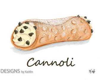 Cannoli Dessert 5x7 Print from Acrylic Painting