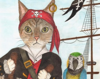 Pirate Cat Yo Ho Sea Fairing Feline With Parrot On The Ship Treasure Chest Whimsical Portrait Card Print Cats Drawing Item 0560a