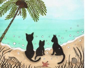 Item 0609, Tropical Beach Kitties, Sand and Surf, Ocean, Palm Trees, Cats,  print or card, Shadow Kitties