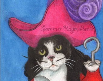 Austin The Cat As Captain Hook Ready To Find Peter Pan Sea Fairing Feline Whimsical Portrait Card Print Cats Drawing Item 0620a