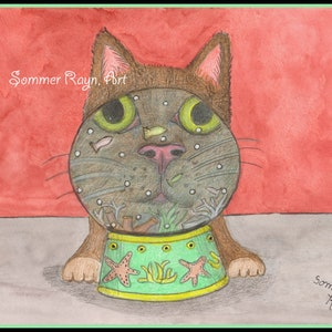 meditation focus and love Drawing Item #0865a whimsical portrait cardprint Namaste Cat Relaxation Cats