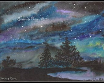 Aurora Borealis, winter sky,  a beautiful night scene landscape, Drawing with watercolor accents, Card or Print, Item #0495a