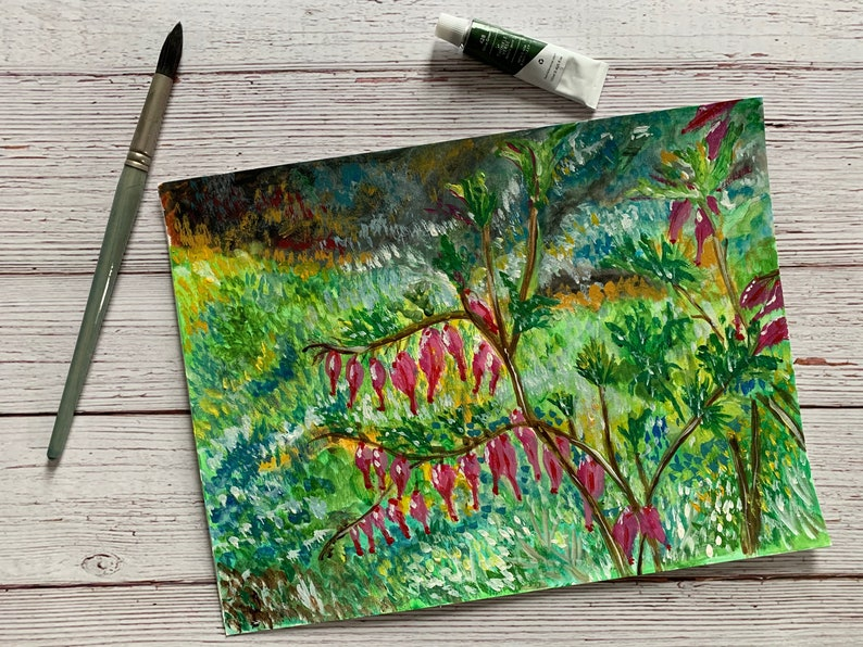 Acrylic Abstract Floral Garden Scene Original Art created by Sommer Rayn