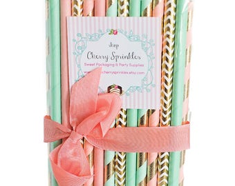 Coral and Mint -Mint Straws -Coral Straws -Gold Foil Straws -Mint and Coral Wedding Decorations -Coral Stripe -Mint Stripe *GOLD Party