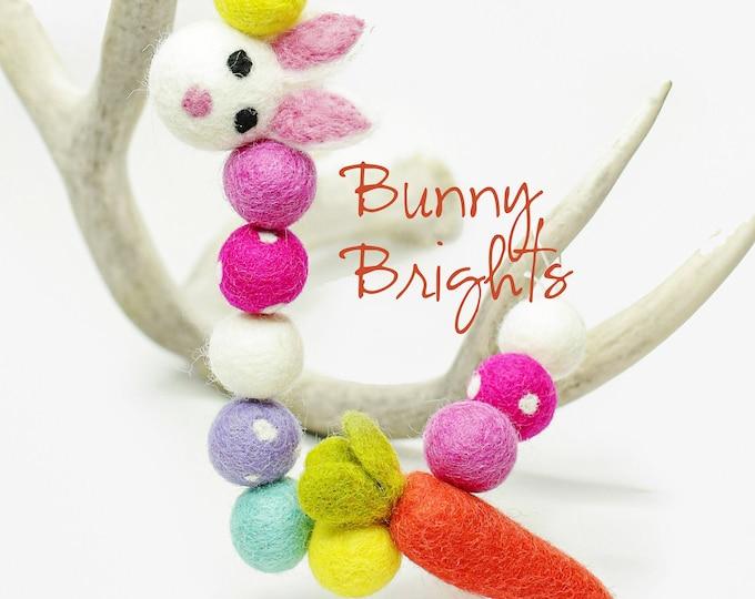 Felt Bunny Felt Carrot Easter Banner| Bunny Banner Bunny Brights Pink Felt Balls Easter Garland Yellow Felt Ball Easter Mantle