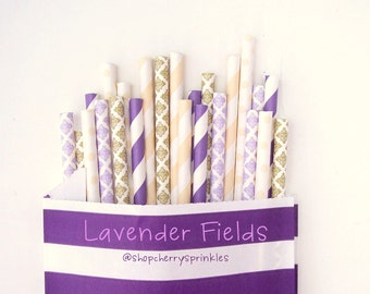 Purple Straws -Party Supplies -Purple and Gold  -Champagne Straw * Ivory Straws - Girl Showers - Weddings - Bridal Showers Gold Straws *Gold