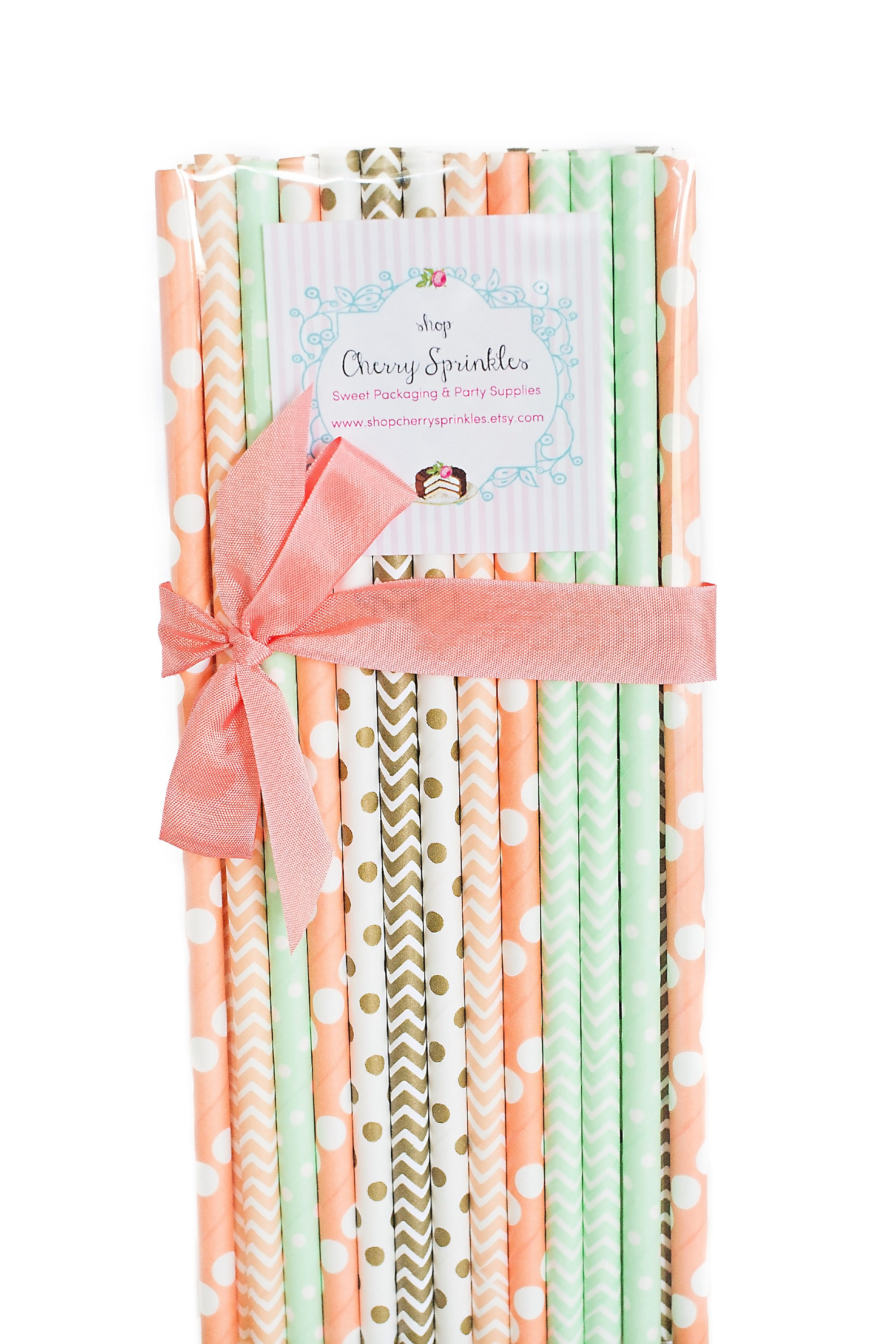 Mint 7pcs Unicorn Conical Gradient Color Makeup Brushes: Summer Peach Peach And Mint Straws Paper Straw Peach