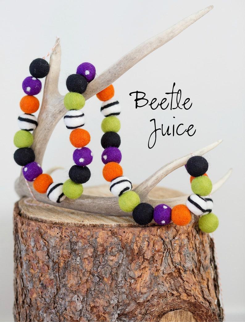 Beetle Juice Halloween Felt Ball Garland Felt Polkadot image 0