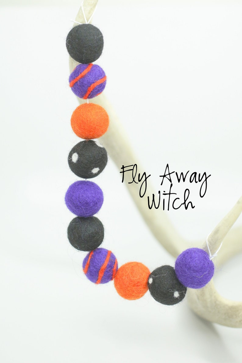 Fly Away Witch Halloween Felt Garland Orange and Purple Felt image 0