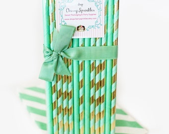 Mint and Gold Straws *Mint Wedding decor *Gold Straws *Mint Straws *Gold Wedding Decor -Gold Foil Straws *Mint party supplies *Gold decor