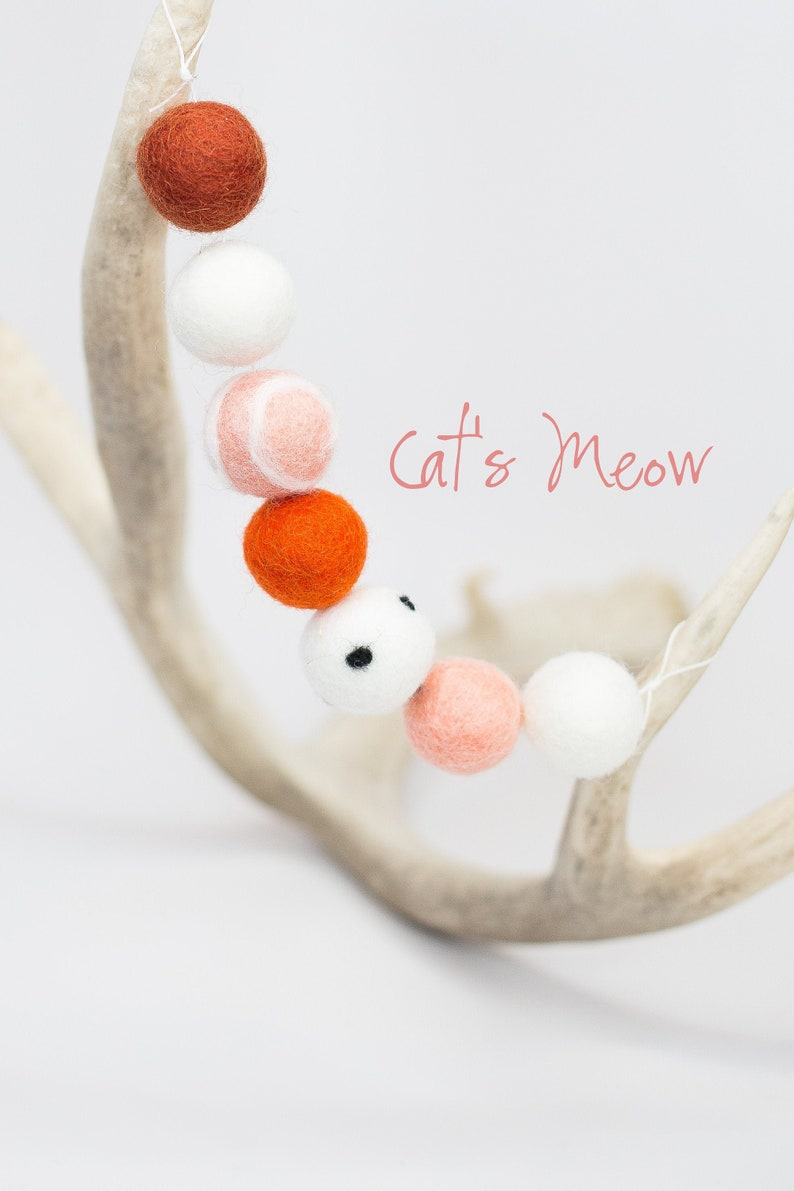 Cat's Meow Garland Halloween Felt Garland Orange and image 0