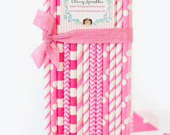 HOT PINK paper straws *Girl *Pink Straws *Girl theme party -Wedding, Birthday, Baby Shower *Bubblegum *Vintage inspired straws -Cotton Candy