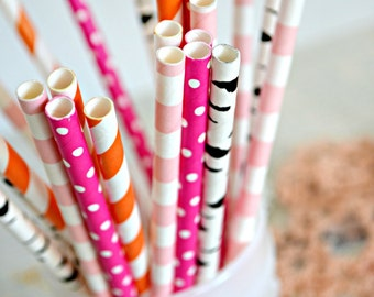 Pink and Orange Party - Birch Wood Straws -Fox Party -Paper Straws *Orange Straws - Pink Straws *Wedding decor *Pink Wedding *Party Supplies