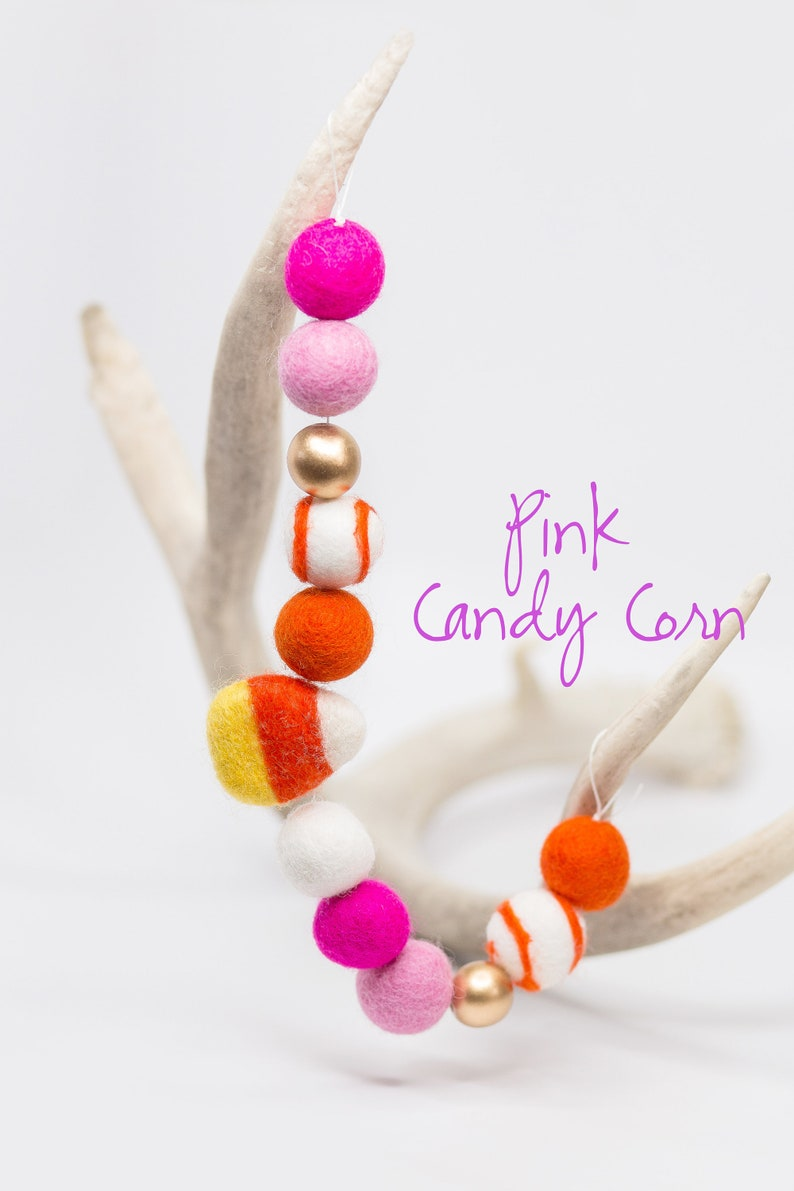 Pink Candy Corn Halloween Felt Ball Garland  Orange and Pink image 0