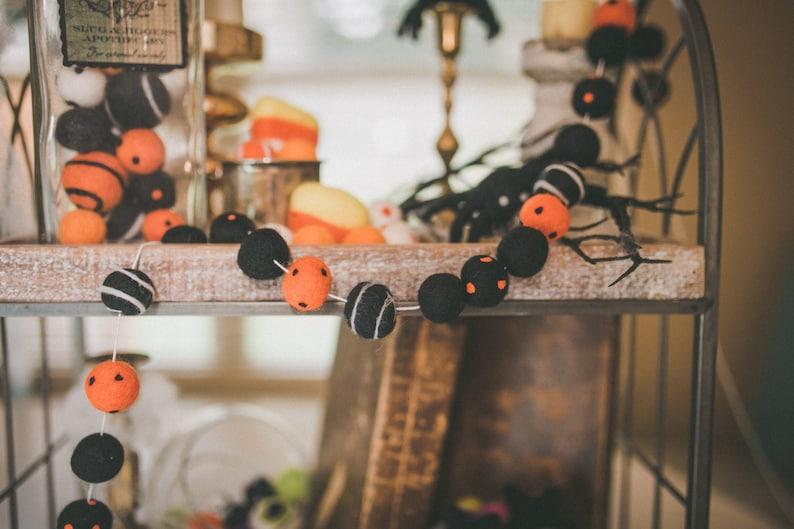 Angry Pumpkin Halloween Felt Ball Garland Felt Polkadot image 0