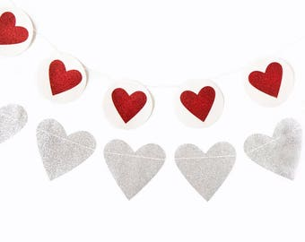 Heart Banner -Valentines Day Garland, Pink and Red party, Silver Heart Garland, Valentines Decor, heart banner, xoxo Be Mine, Hearts -Silver