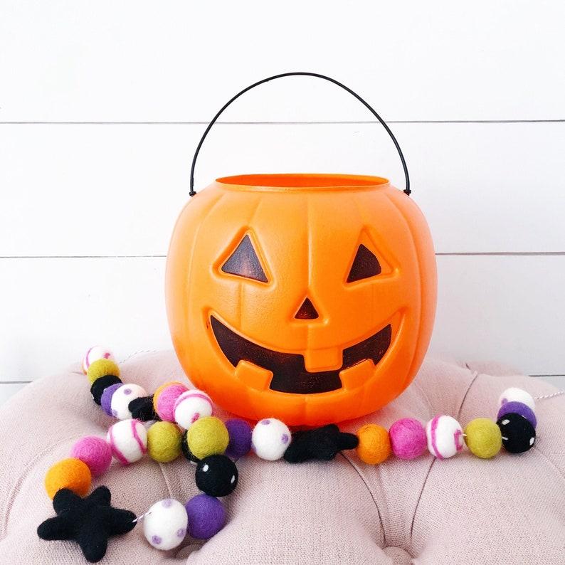 Spooky Ghouls Felt Ball Garland Felt Star Garland Orange image 0
