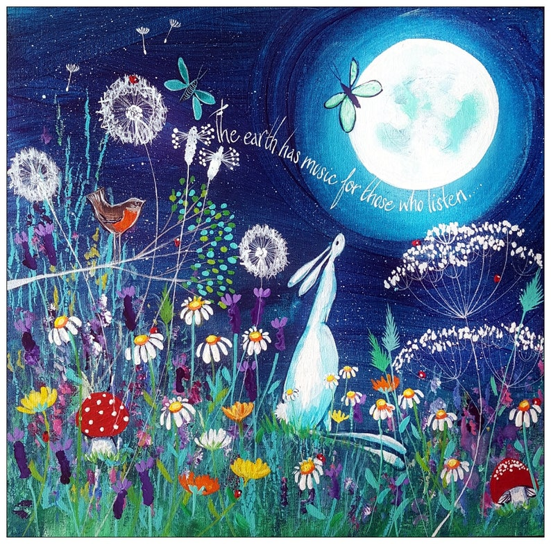 Free UK delivery! Print of an original painting Hare looking at moon Canvas print /'The earth has music for those who listen./' 8 x 8 in