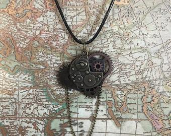 Steampunk Gear Chain Pendant Necklace