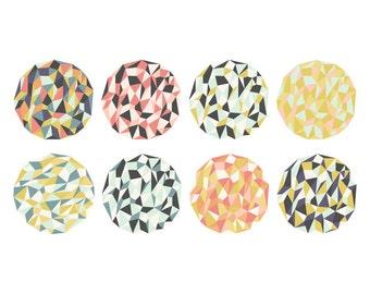 Mosaic Clip Art // Grey, Pink, Mustard, Teal // Geometric Digital Clipart  // Instant Download
