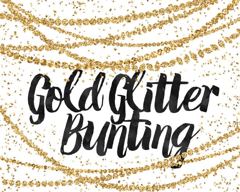 Gold Glitter Bunting Clipart  Digital Bunting  Glitter Clip Art  Gold Bunting Clip Art  Modern Clipart  Gold Graphics  Digital Border
